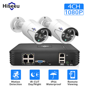 Image 1 - 4CH 1080P POE NVR kit CCTV system with 2pcs 1080P IP Camera Outdoor Waterproof home Security video Surveillance system Hiseeu