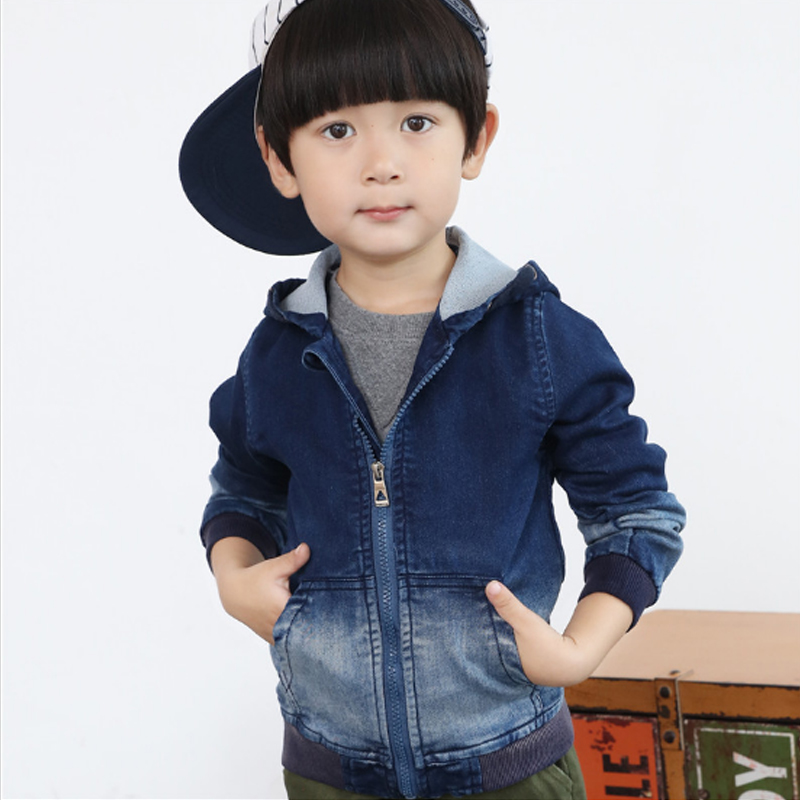 Cute Denim Jacket for Boys 2018 New Autumn Long Sleeve Zipper Children's Windbreaker Cotton Gradient Colors Coat for Boys 3jk008 laundry by shelli segal new red long sleeve zipper jacket 2 $149 dbfl