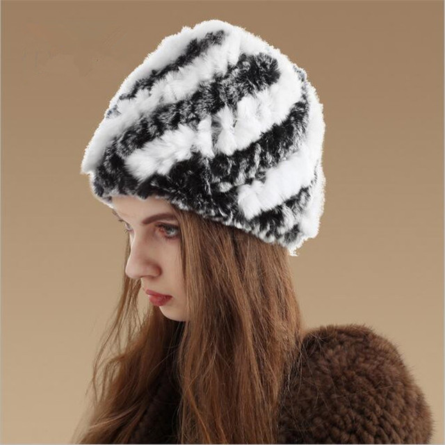 0c1cd7298b8 Winter Beanies Fur Hat For Women Knitted Rex Rabbit Fur Hat With Fox Fur  Flower Top
