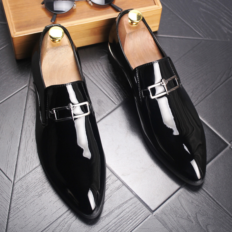 England style mens casual business wedding formal dresses cow leather shoes large size pointed toe oxford shoe smoking slippers 2