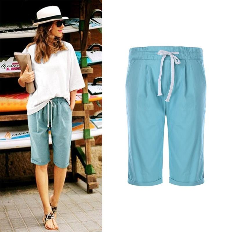 Fashion Cotton Women Shorts Beach Half Trousers Solid Color Casual Drawstring Wide-legged Summer Loose Pants Plus Size