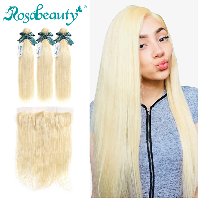 Rosabeauty Straight Human Hair 613 Blonde Bundles With Frontal Closure Pre Plucked With Baby Hair Bleach Virgin Hair Wefts 4 Pcs by Rosabeauty