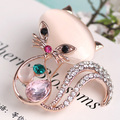 Fashion Woman's Rose Gold Wedding Brooches Collares Bijuterias Shiny Brand Cat Eye's Stone Rhinestone Pins And Broaches Bijoux