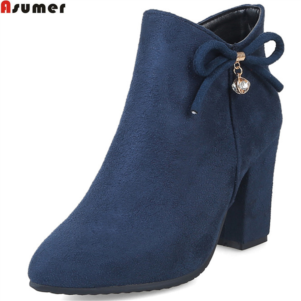 Asumer 2018 fashion autumn winter new arrive women boots pointed toe ladies boots flock zipper square heel ankle boots plus size ...