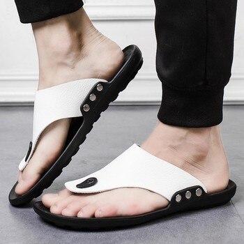 Men Summer Rome Flip Flop Beach Slipper Comfortable T-Strap Open Toe Slipper fashion flat Round Toe slipper shoe outside June 26 1