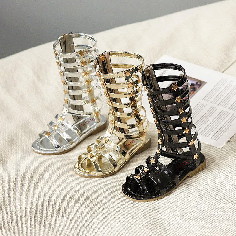 2019 Summer Girls Sandals Child Sandals Female Child High Gladiator Cool Boots Long High Top Rivet Hot-selling Fashion Cutout