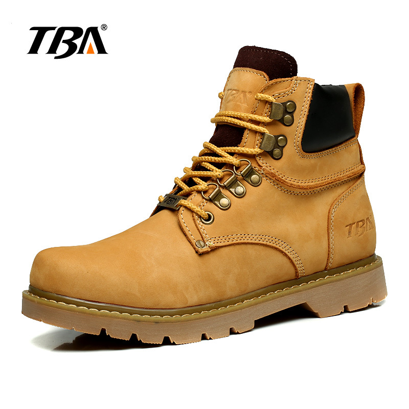 ФОТО TBA High-top British Winter Lace Up Ankle Martin Boots Fashion Men's Genuine Leather Casual Shoes Comfortable Breathable Flats