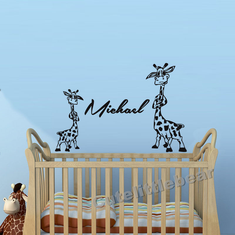 two lovely giraffe wall stickers personalized names removable baby