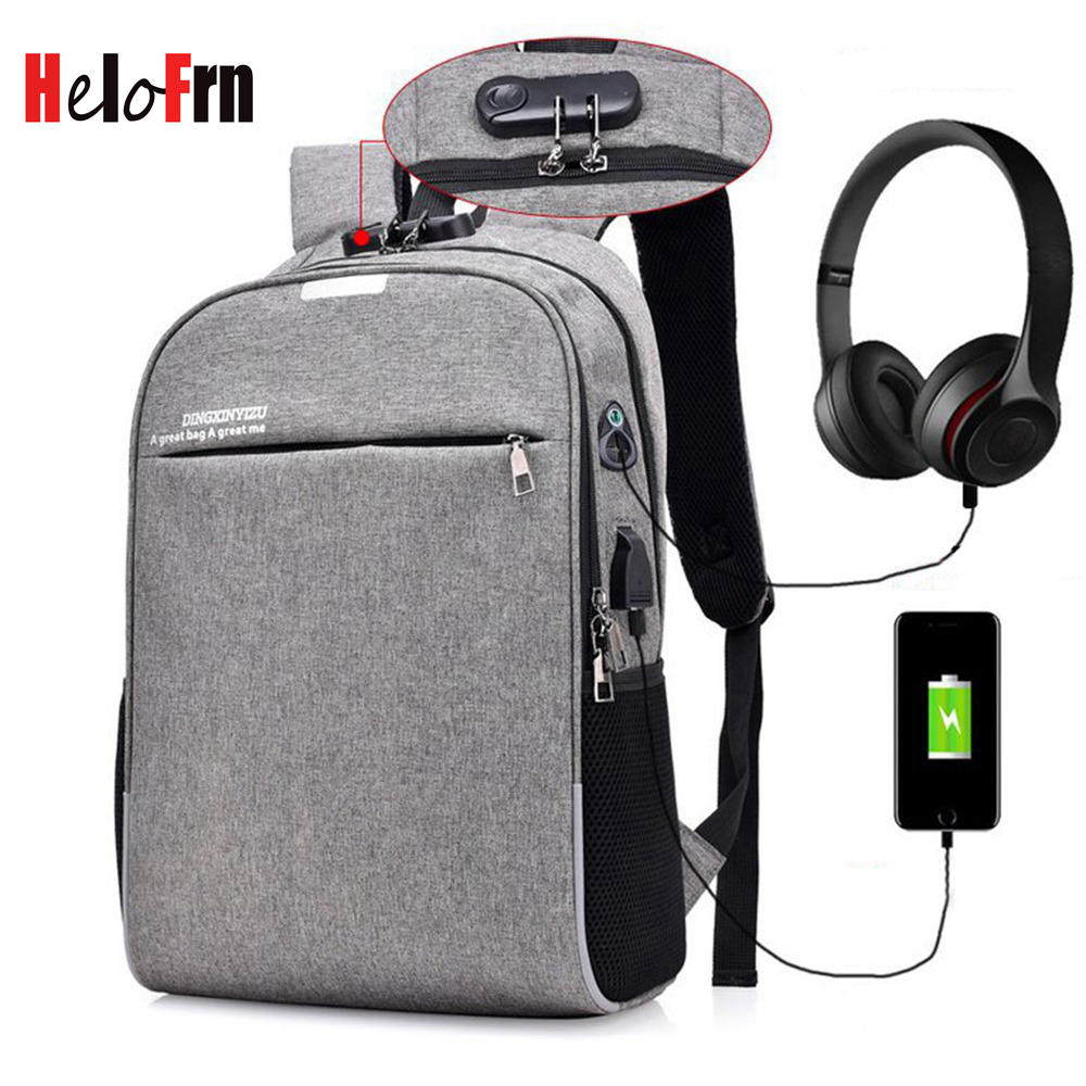 HeloFrn Anti Theft Men Backpack Laptop USB Charging Male Bag Earphone Music Waterproof Women Teenager Travel Mochila
