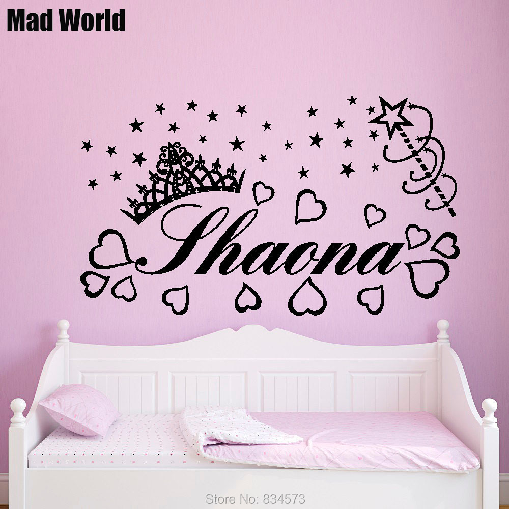 Mad World PERSONALISED NAME PRINCESS Crown Baby Wall Art Stickers Wall Decal  Home DIY Decoration