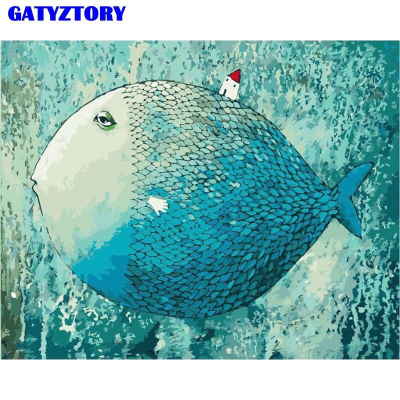 Casa de Peixes Animais DIY Pintura sem moldura Por Números Pintados À Mão Pintura A Óleo Moderna Arte Da Parede Decoração Da Sua Casa Para Casa Obras de Arte 40x50