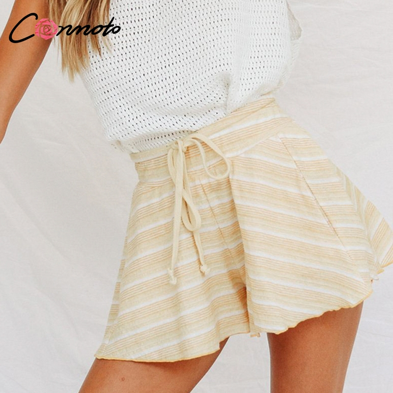 Conmoto 2019 High Waist Summer   Shorts   Women Flare Leg Opening Loose   Shorts   Lace Up Stripe Yellow Casual   Shorts
