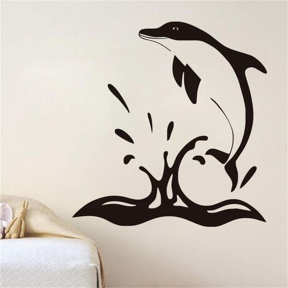 Dolphin jumping out of the water wall decal sticker modern vinyl art wall decals creative designing home decor for kids rooms in wall stickers from home