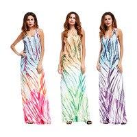 2019 summer dress Bohemia Asian style new fashion print vest collar dress long dress women