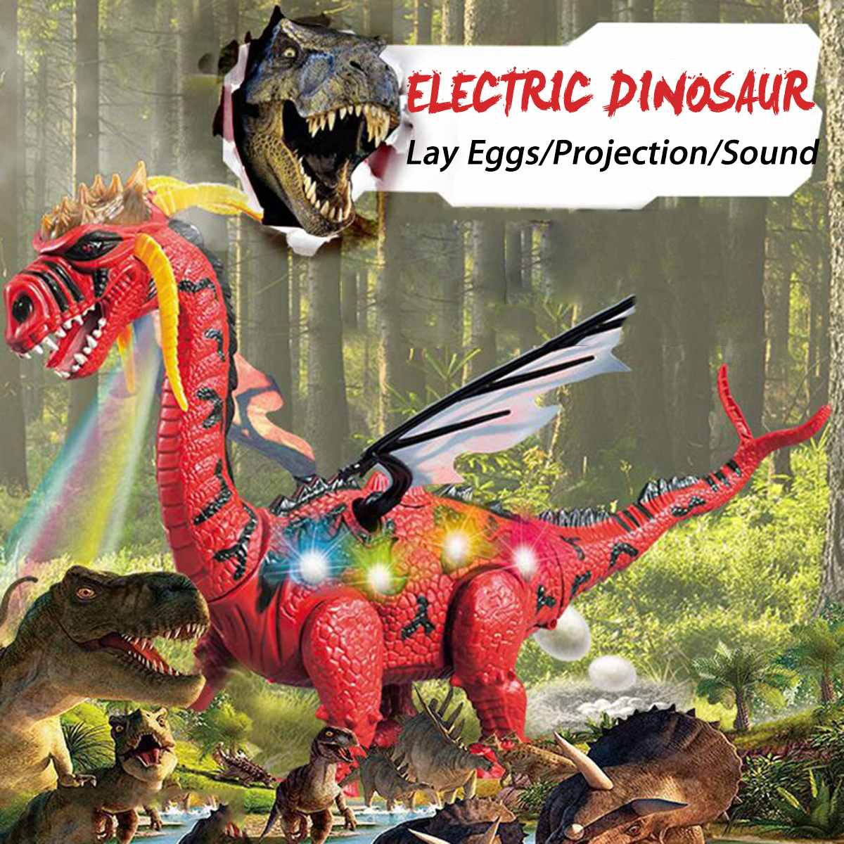 Children Electric Walking Dinosaur Robot Toy Lay Eggs Projection Lights Roar Sounds Kids Enlightening RC Toy Boy Christmas Gift