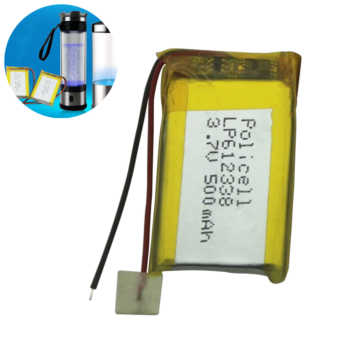 3.7V 500mAh <font><b>612338</b></font> Lithium Polymer Li-Po Li ion Rechargeable Battery Lipo Cells for DVR GPS MP3 MP4 Cell Phone Speaker image