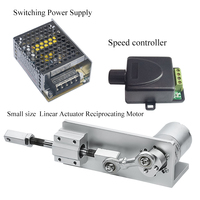 Small DIY Design Reciprocating Cycle Linear Actuator 12V 24 Volt Stroke 12 16 20mm Switching Power Supply + Speed Controller