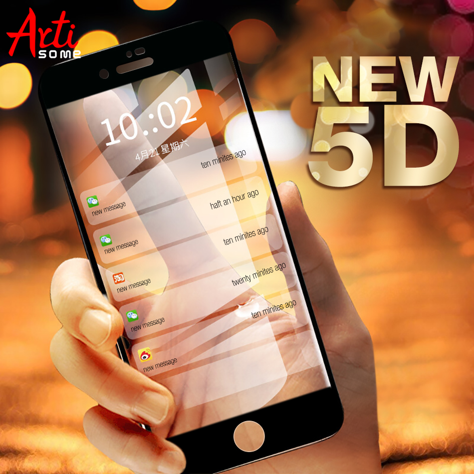 Artisome 5D Curved Edge Glass For iPhone 8 7 Glass Tempered For iPhone 6 6s 7 8 Plus Screen Protector Protection Glass