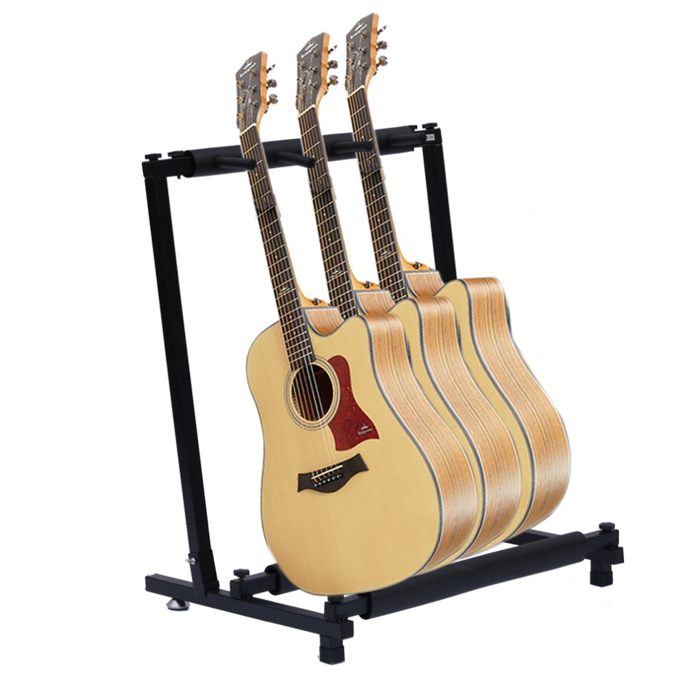Practical 3 Ways Multi Guitar Stand Foldable Acoustic Electric Classic Bass Guitarra Rack Music Instrument Stand Space Saving 60cm iron eva electric guitar wall hanger horizontal acoustic guitarra holder bass stand rack hook guitar parts