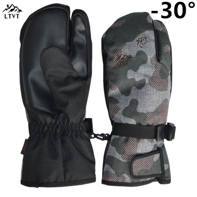 LTVT Ski Gloves Padded Waterproof Three Fingers / All-inclusive / Five-finger Ski Gloves Men And Women Windproof Warm Ski Glove