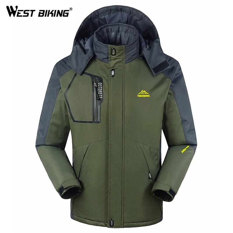 WEST BIKING, зимняя мужская флисовая ветровка, для спорта на открытом воздухе, с капюшоном, ветрозащитная, водонепроницаемая, теплая, для велоспо...