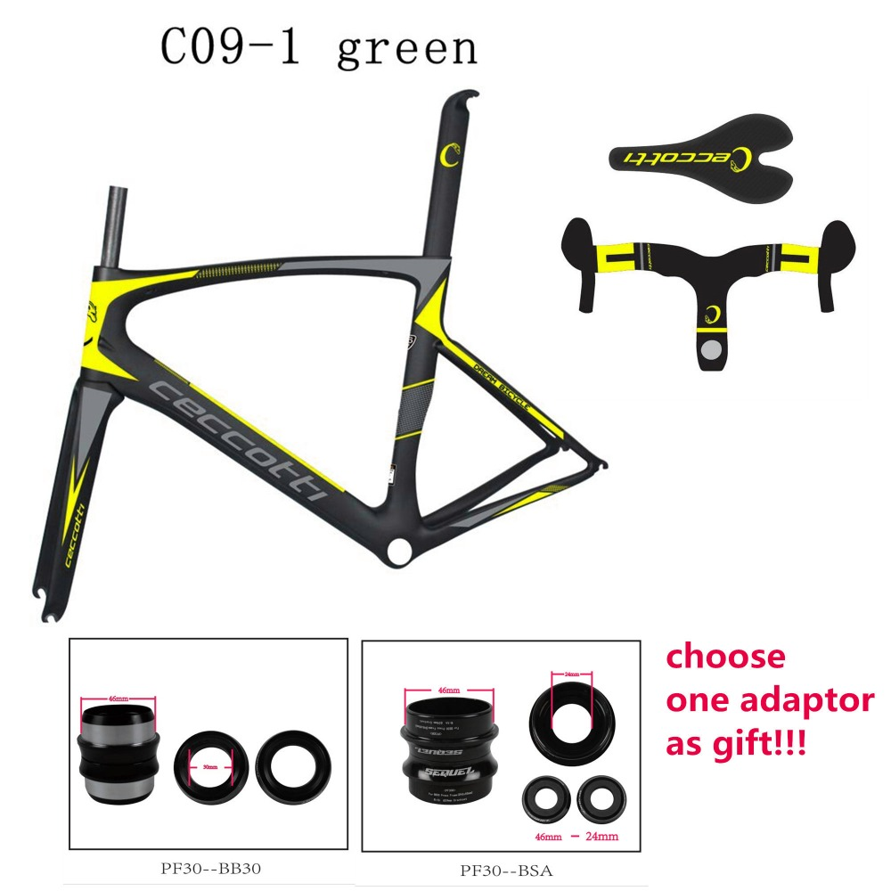 Buy carbon frames get suitable adaptors as gifts fluo-yellow carbon road frame 2017 Toray T1100 UD/1K Di2 road bike frame 700c nk 1k carbon frameset road bike red black carbon frames cycling frames bb68 bsa frame fork headset