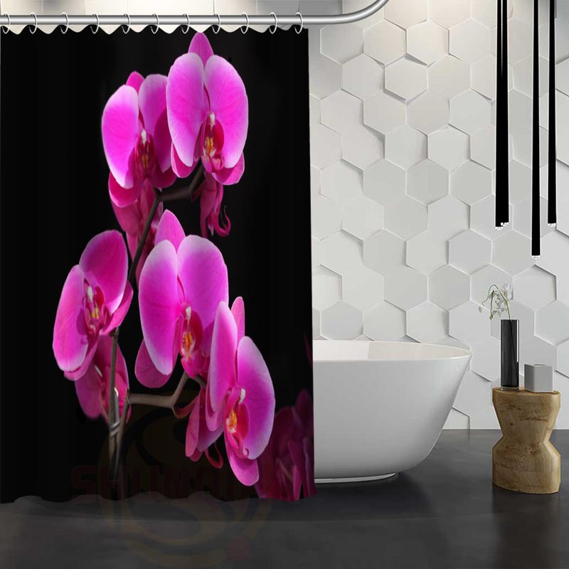 Custom Colorful Orchid Closeup Flower Shower Curtain Waterproof Fabric Shower Curtain for Bathroom WJY1.17