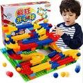 Diy construcción de mármol carrera carrera laberinto bolas pista plástico house building blocks juguetes para los niños de navidad sin caja