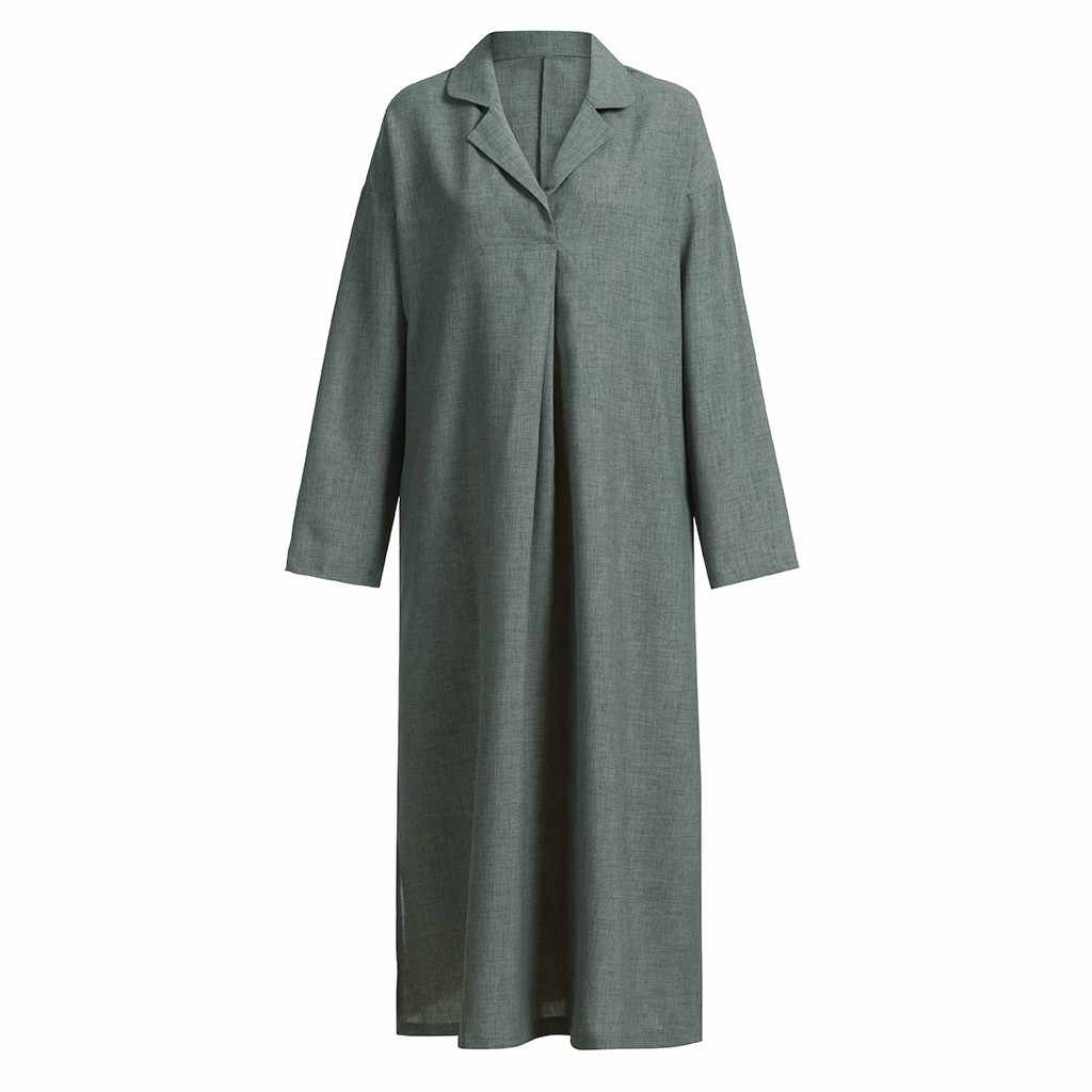 09fb62adb9 Women Solid Plus Size Maxi Dress Long Sleeve Cross Sukienki Damskie Maxi  Dress Full Length Shirt Line Dress Sukienki Damskie
