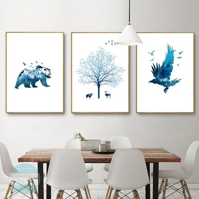 haochu moderne schnee eis mountain bear leinwand malerei dekorative wandbild fur wohnzimmer schlafzimmer eingerichtet triptychon poster