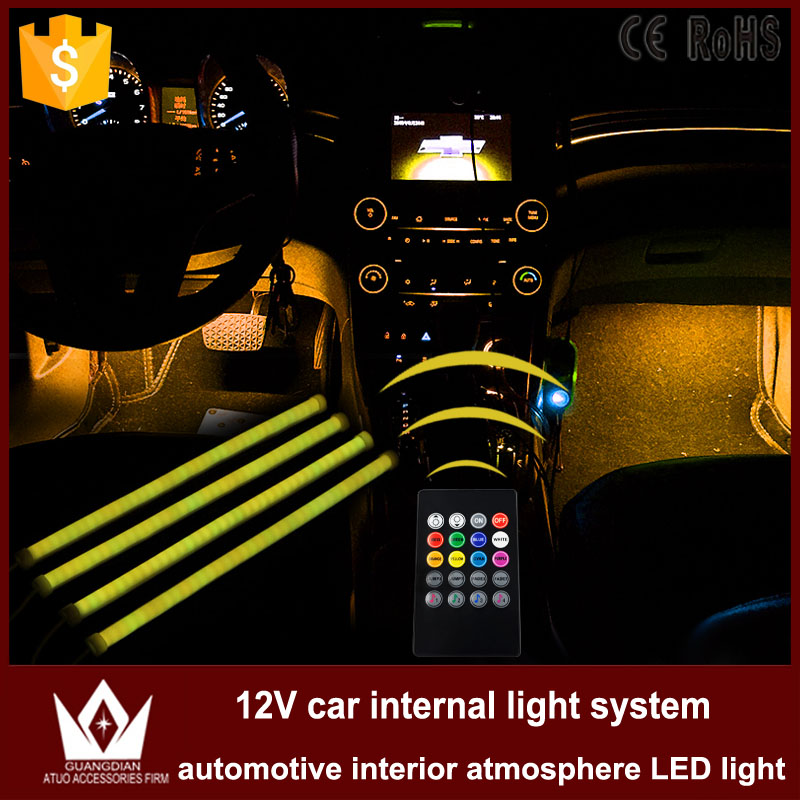 Tcart 1Set Car Auto Interior Atmosphere Light LED Lighting foot Floor lights voice Host with Remote control Decoration car light