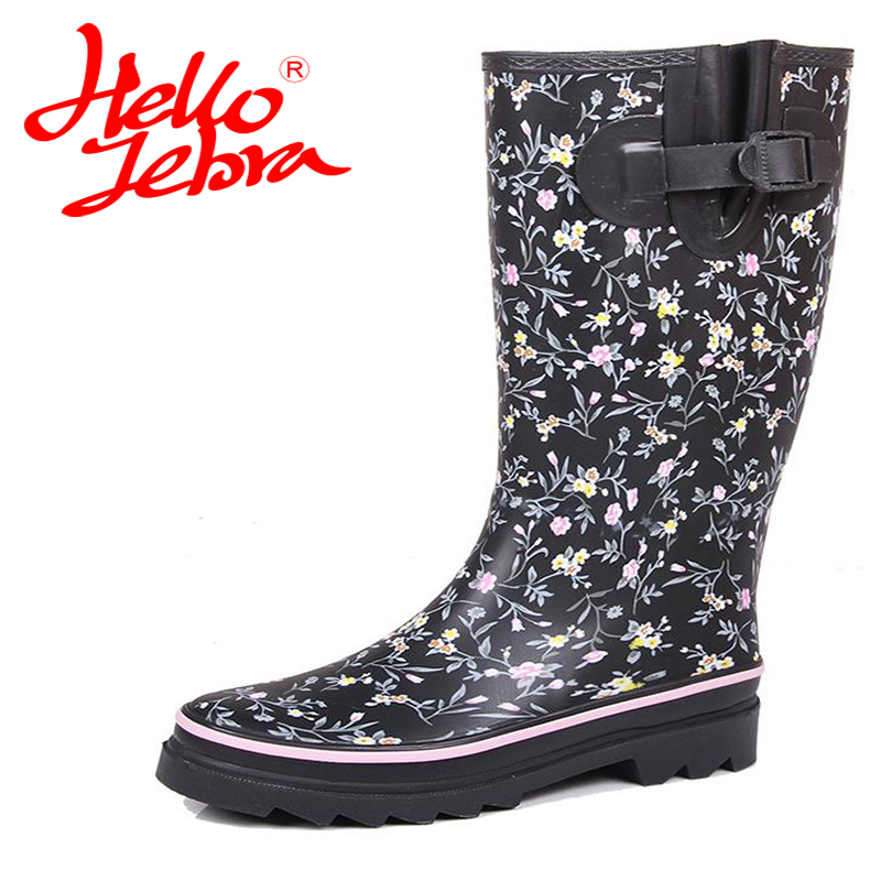 Hellozebra Women Winter Rain Boots Lady Knee High With Zip Comfortable Solid Charm Waterproof Rainboots 2017 New Fashion Design 2016 fashion waterproof high style women hunting rain boots women water shoes winter rainboots