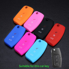 3 buttons remote Keys Bag Protector car Key silicone shell keychain case holder for Ford Focus Fiesta Focus Mondeo Ecosport Kuga(China)