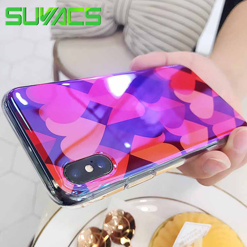 SUYACS For iPhone 6 6S 7 8 Plus X Case Glossy Red Double Hearts Blu-Ray Soft IMD Slicone Phone Case Back Cover Coque Shells Bag