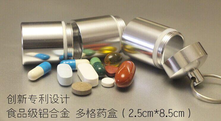 Doprava zdarma 8.5 * 2.5cm hliníkové léky kapsle skladování pro přenosné zapečetěné přenosné nahrávání Vzpomínky léky případ box