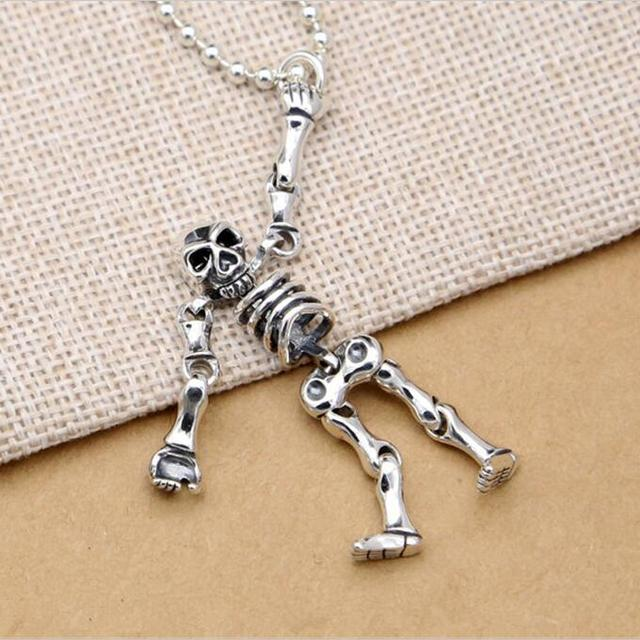 Solid silver 925 cute movable skeleton pendant for diy necklace solid silver 925 cute movable skeleton pendant for diy necklace hiphop punk style sterling silver 925 aloadofball Image collections