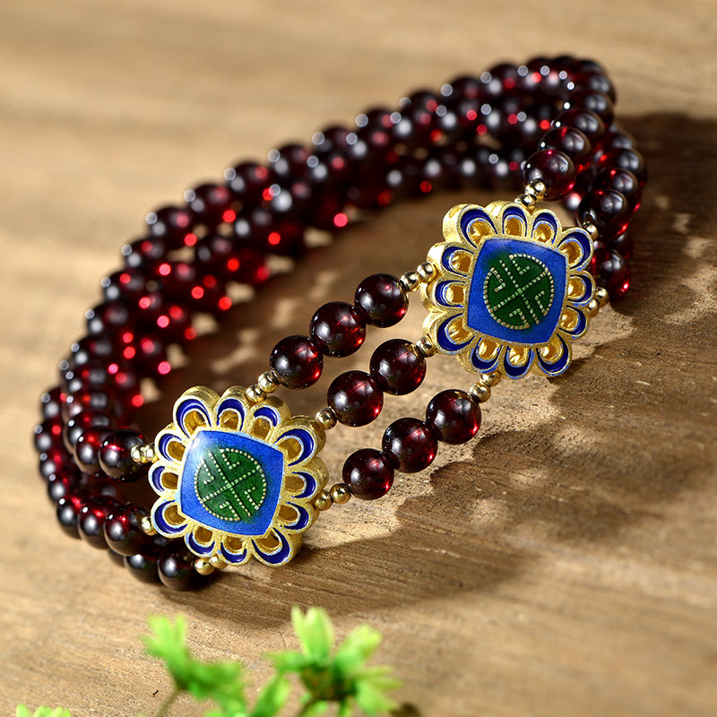 Starfield Pure Handmade Bracelet Natural Garnet Beads DIY With Cloisonne Accessories Wholesale pure handmade string beads beads bracelets tassels roasted blue flower accessories amber beaded bracelet factory wholesale