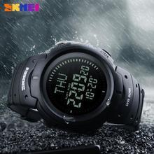 SKMEI Мужские наручные спортивные часы Compass Chronograph 3 Alarms 12/24 hrs 5ATM Waterproof Hiking Digital LED Electronic Watches
