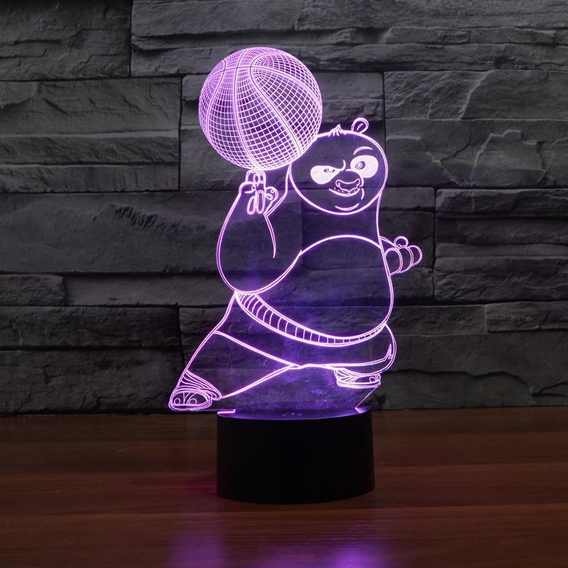 new kung fu panda colorful 3d lamp led lamp light touch switch acrylic visual illusion nightlight