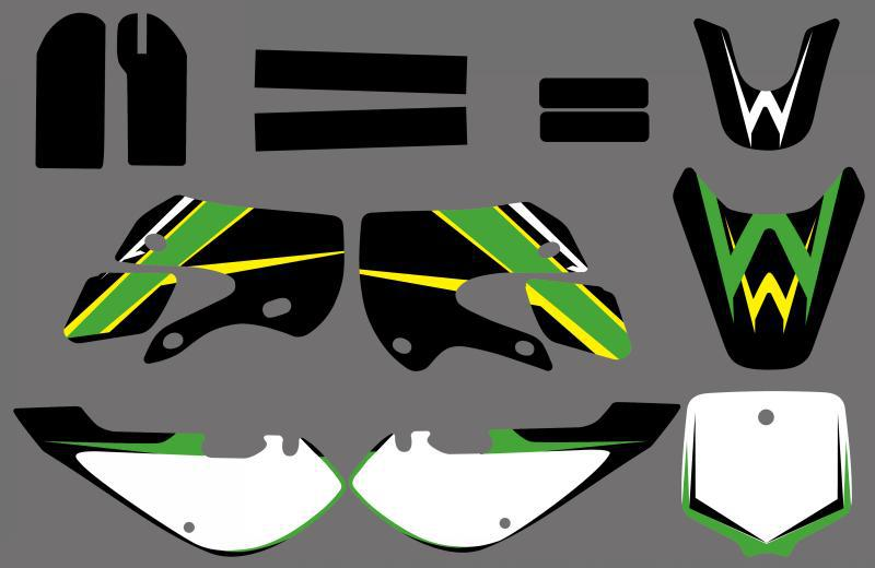 GRAPHICS BACKGROUNDS DECALS STICKERS Kits for Kawasaki KLX110 2002 2009 KX65 2000 2013 All DRZ110 Similar
