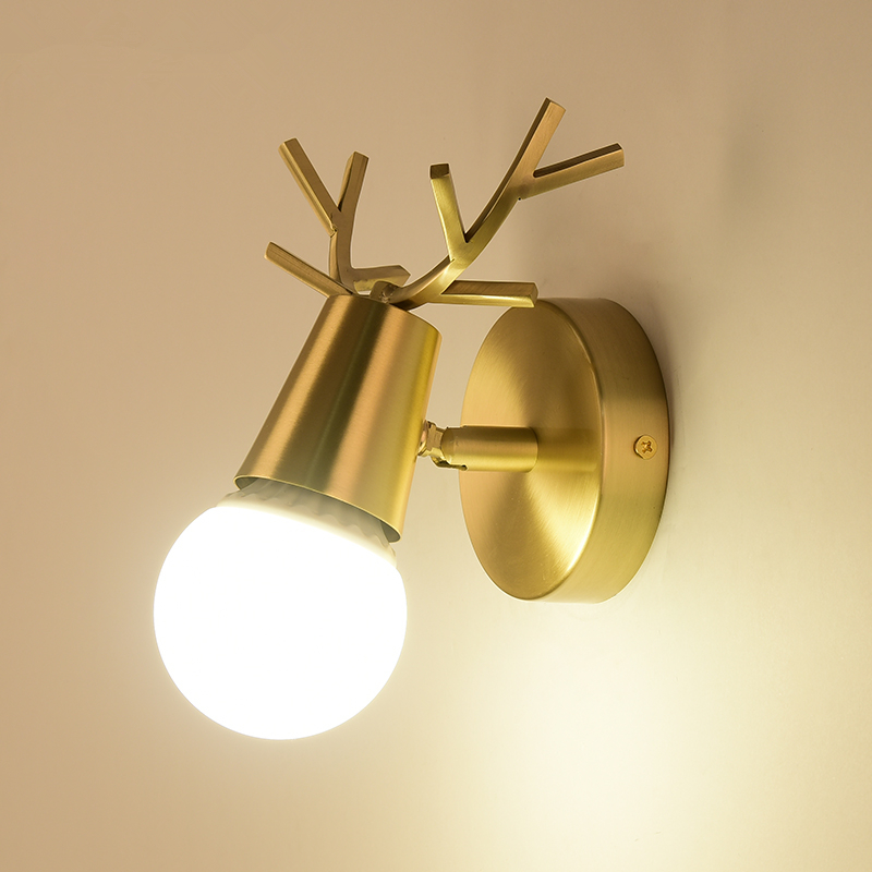 Creative bedside brass wall lamp light staircase corridor aisle lamps children room elk Nordic bedroom living room wall lamp modern minimalist led iron wall lamp creative bedroom living room balcony staircase aisle lamps bedside wall lamp corridor light
