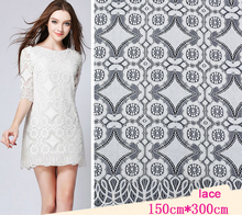 Top Grade Geometric Black Guipure Lace Fabric For Woman Summer Dress Material French Eyelash Chantilly Lace Fabric For Sewing