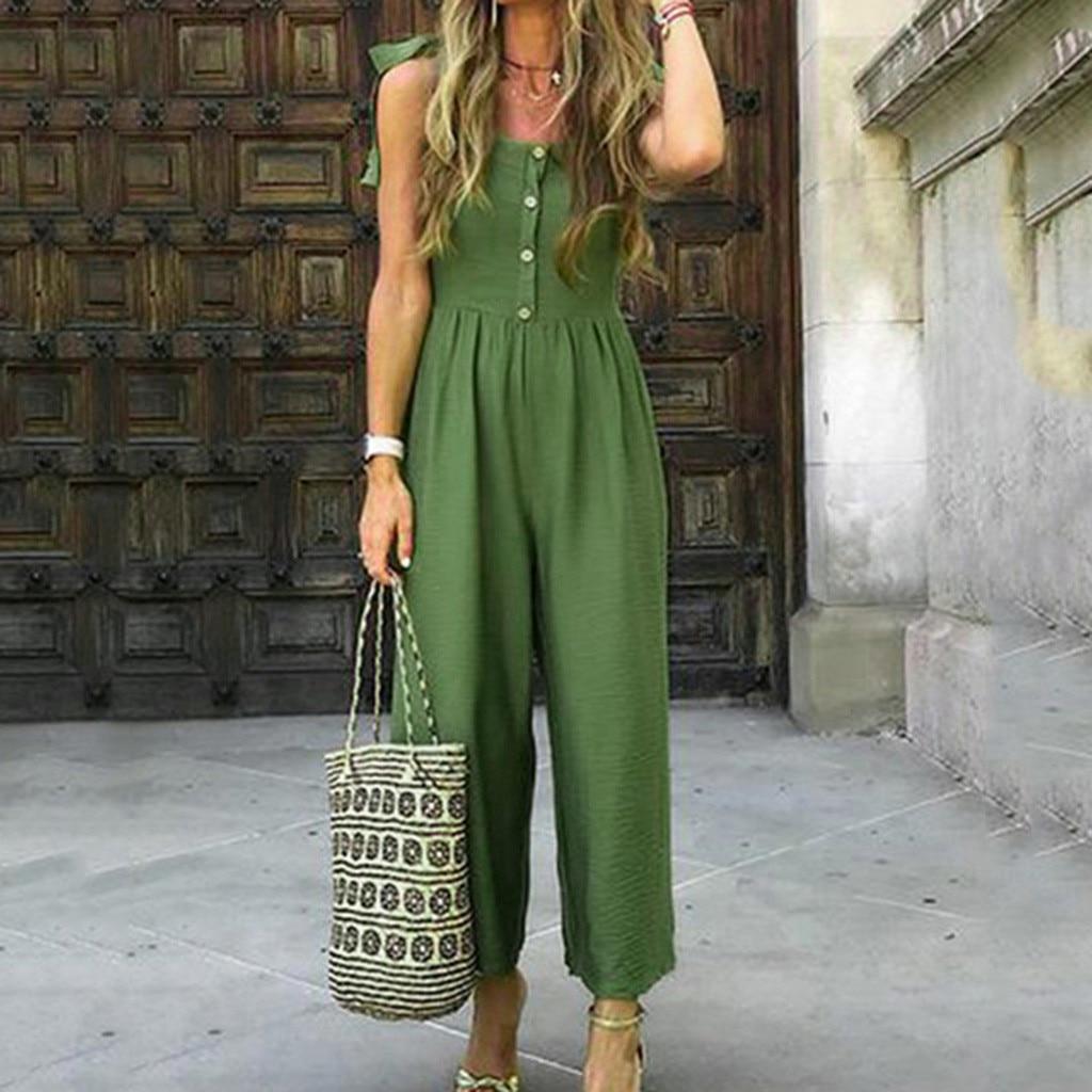 Women   jumpsuit   Casual 2019 Summer Solid With Buttons Shoulder Strap Bandagws Casual Long Rompers   Jumpsuit   bodysuit Plus Size