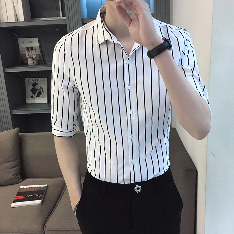 2018 Spring Summer New Trends Youth Style Small Fresh Casual Korean Men Simple Work Business Casual OVERSIZE Loose Dress Shirt