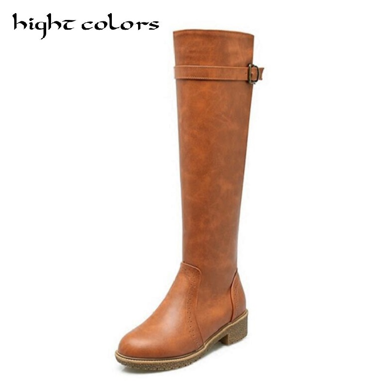 2017 Autumn And Winter Boots Women Fashion Side Zipper Shoes Thick Heel Plus Size 43 Knee High Motorcycle Boots For Women стоимость