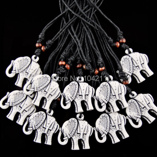 LOT 12pcs elephant pendant Imitation yak bone necklace G-010