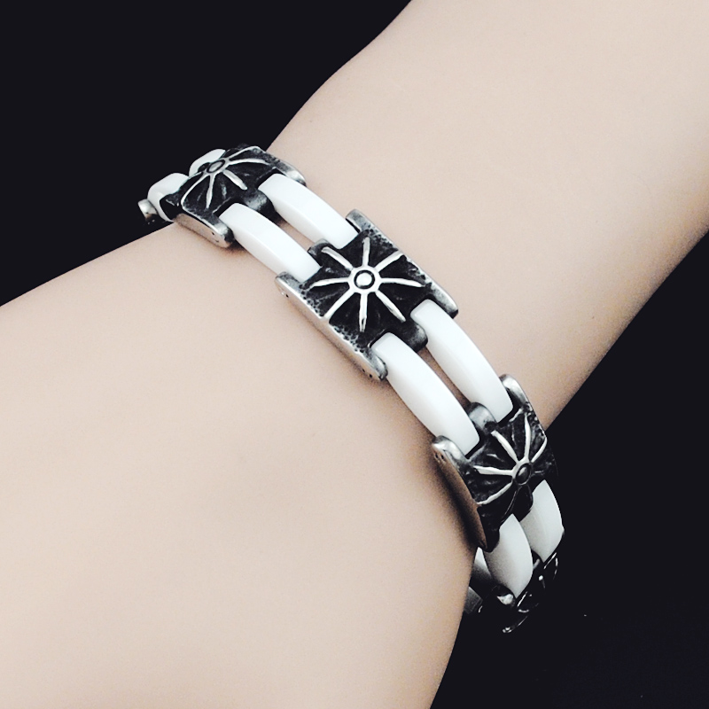 2016 Hot Fashion Summer Style White Ceramic Bracelet Sun Pattern Jewelry For Men Women Friendship Nice Party Gift LB1372