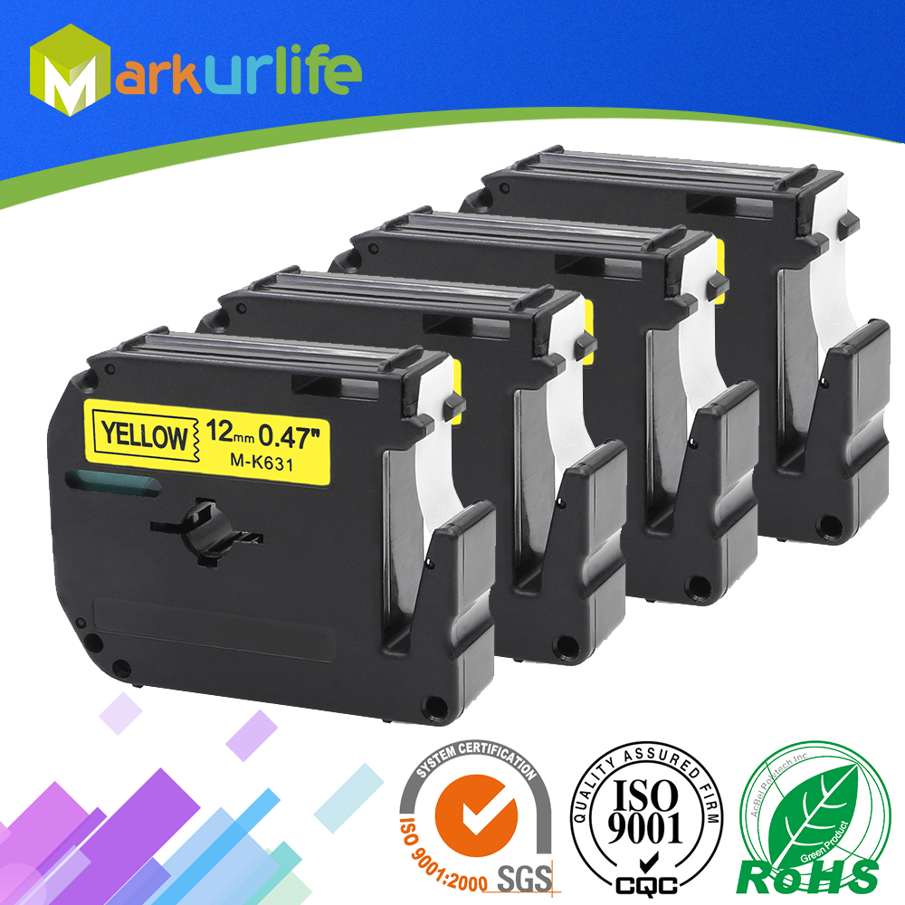 4 PCS/Lot M-K631 Compatible Brother M Tapes Label cartridge M-K631 MK631 M631 for Brother P touch printer PT100 PT65 12mm*8m