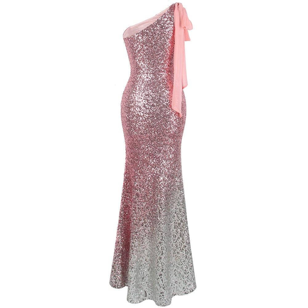 Angel fashions Women's One Shoulder Sparkly Sequin Gradient Splicing Slit Evening Dress 286 Green Gold - 2