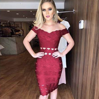 Seamyla High Quality Jacquard Bandage Dress Women Sky Blue Off The Shoulder Celebrity Party Dress 2018 Mini Bodycon Dresses